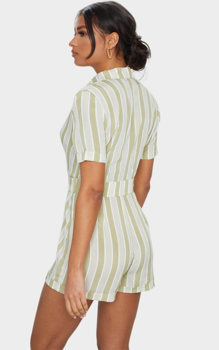 Sage Green Stripe Belted Short Sleeve Blazer Playsuit 2