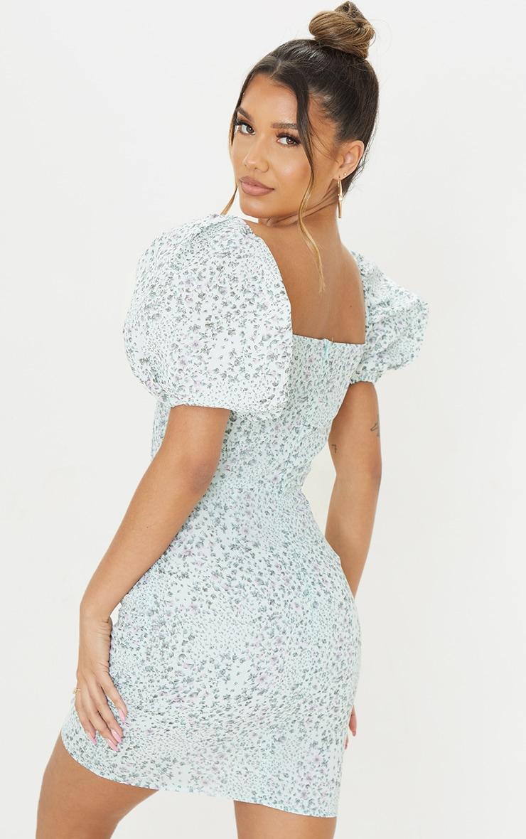 Mint Ditsy Print Binding Detail Ruched Hem Bodycon Dress 2