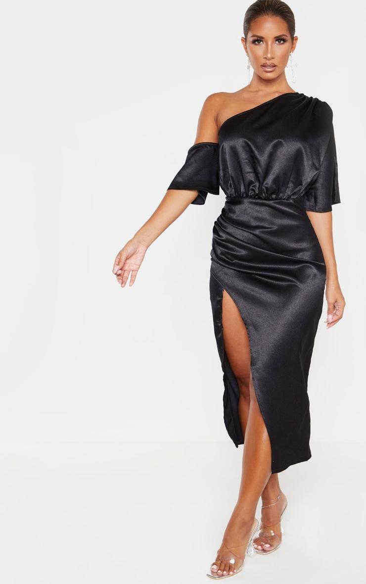 Black Satin One Shoulder Ruched Skirt Midi Dress 4