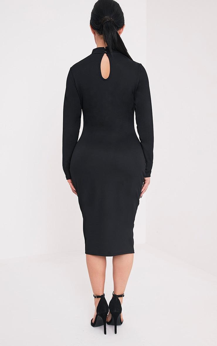 Shape Kayleene Black Open Front Crepe Midi Dress 2