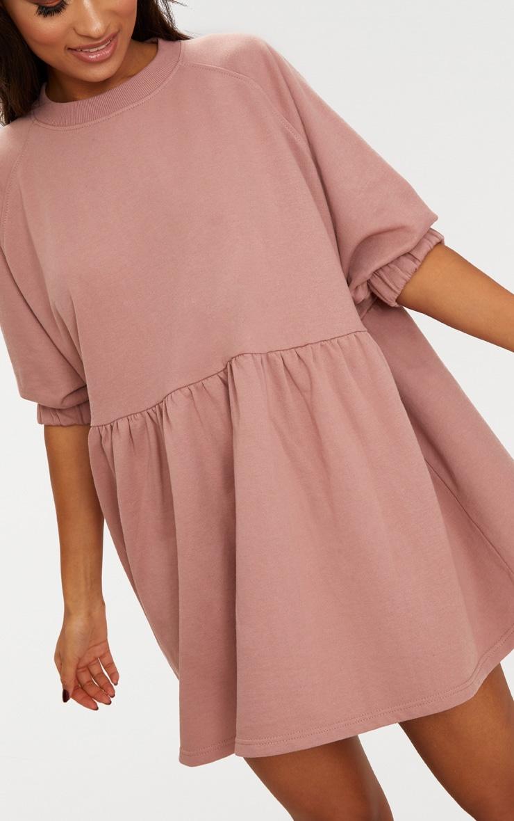 Dark Mauve Smock Sweater Dress 5