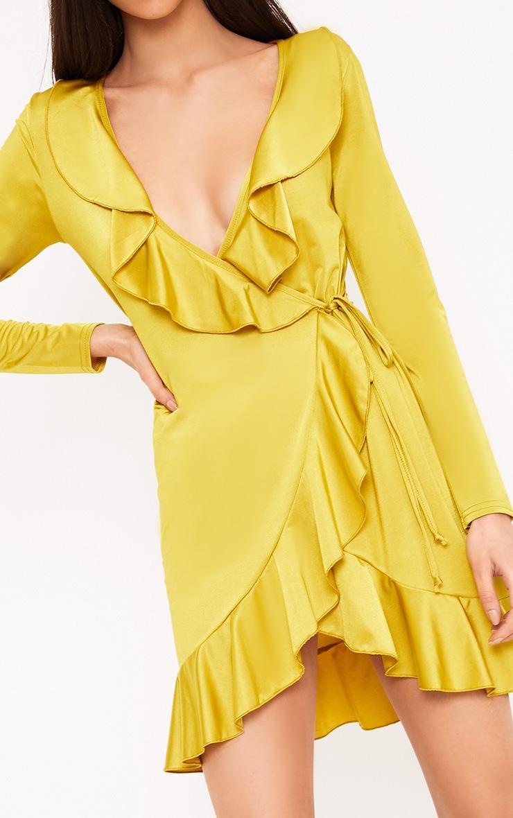 Kirstin Dark Lime Frill Wrap Shift Dress  5