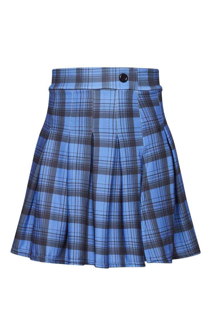 Blue Pleated Check Side Split Tennis Skirt 6
