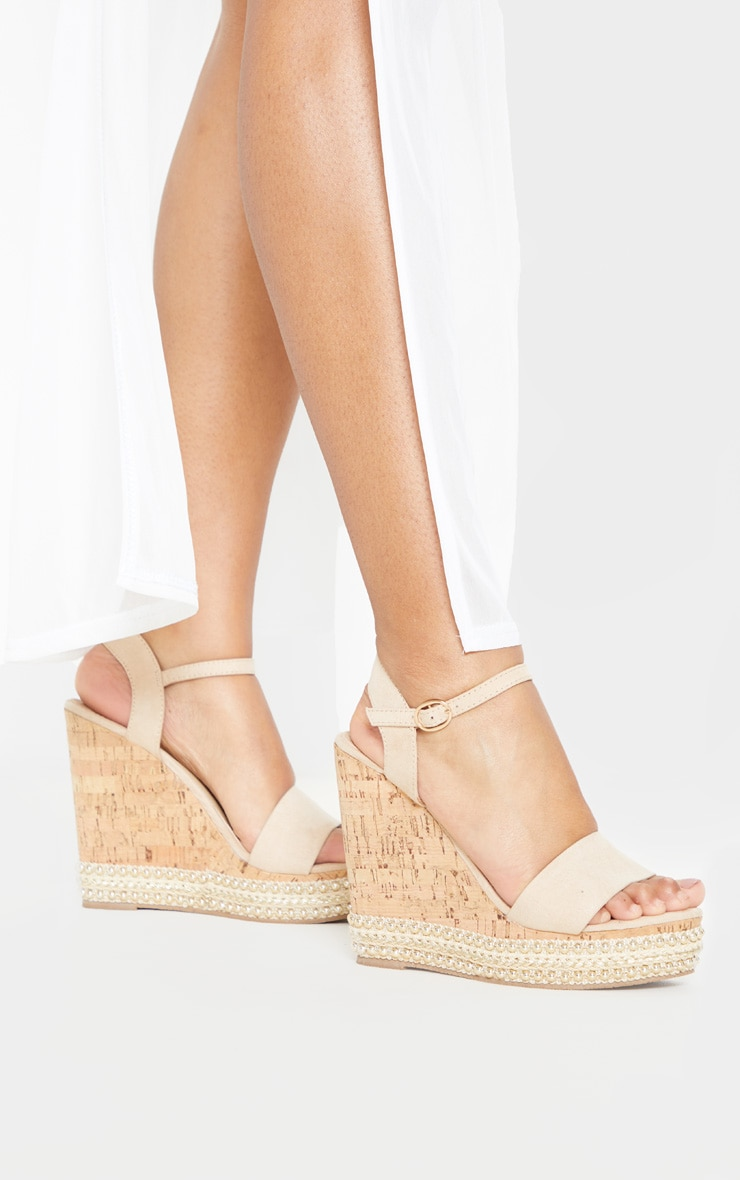 Nude Studded Cork Wedge Sandal 2