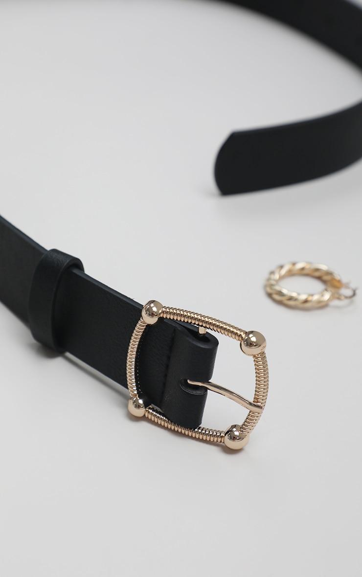 Black Pu Gold Textured Buckle Belt 3