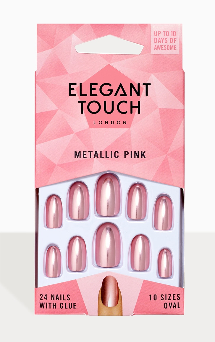 Elegant touch Metallic Pink Nails 1