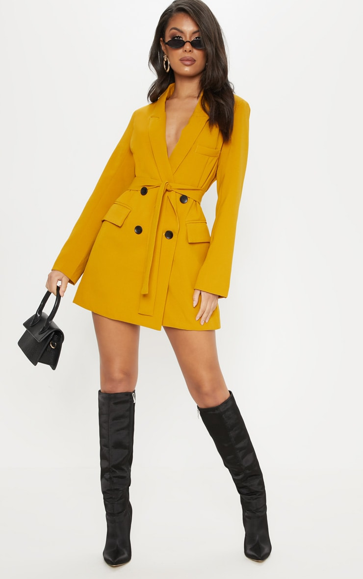 Mustard Tie Waist Blazer Dress