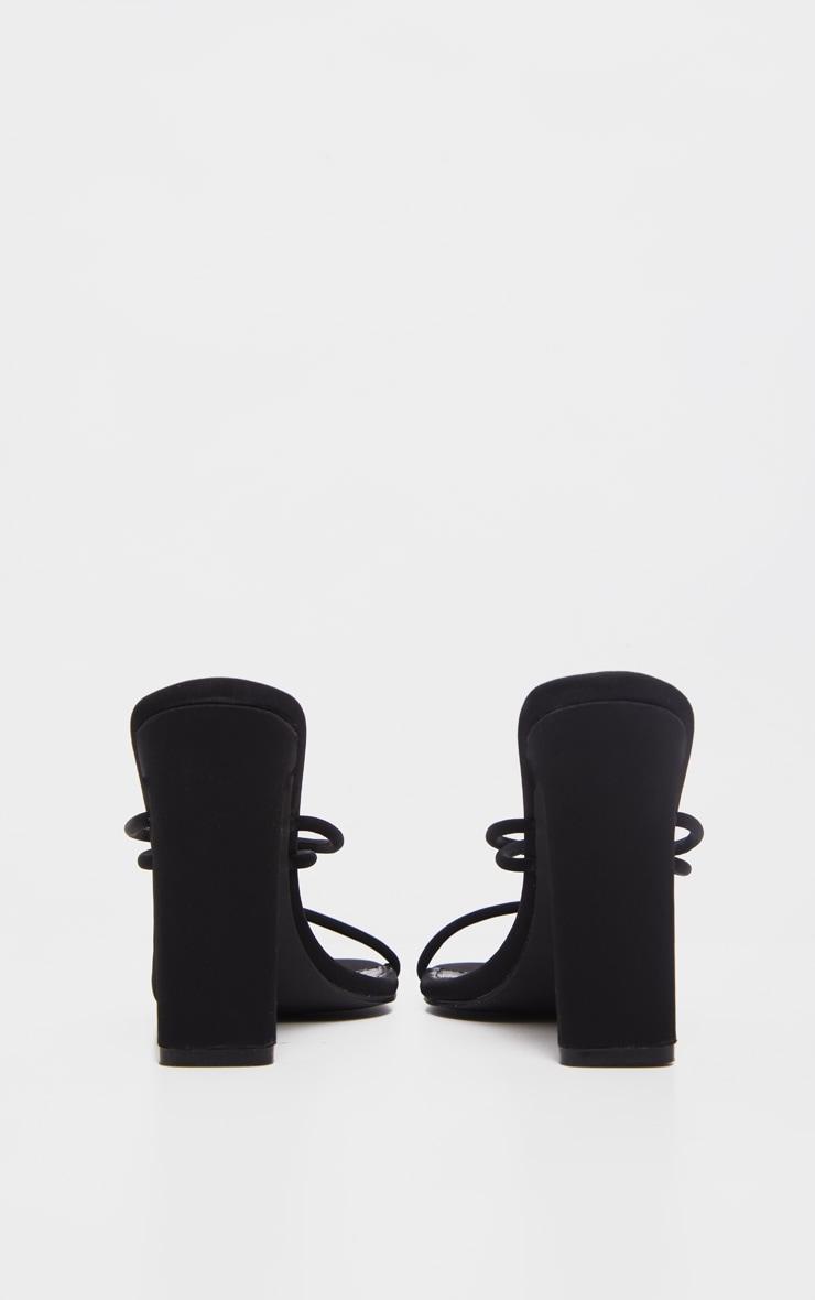 Black Flat Heel Tube Strappy Mule Sandal 4