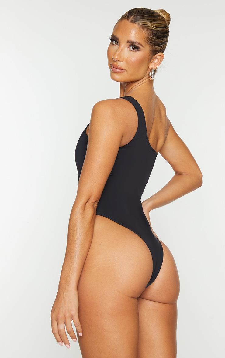 Black One Shoulder Scuba Swimsuit 2