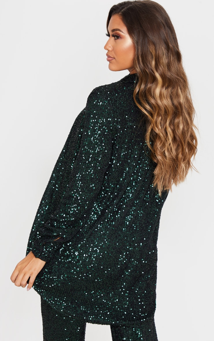 Emerald Green Sequin Oversized Shirt 2