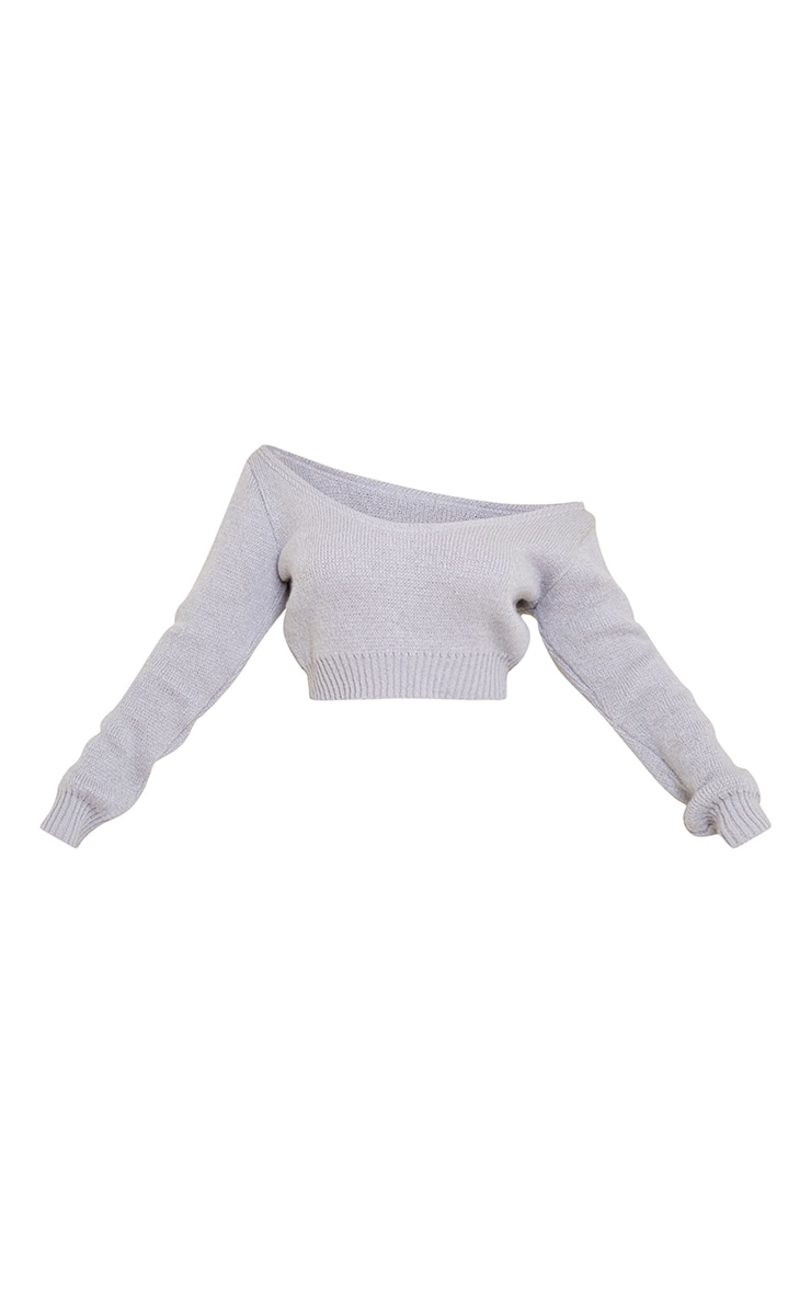 Grey V Neck Off Shoulder Soft Knitted Crop Jumper 5