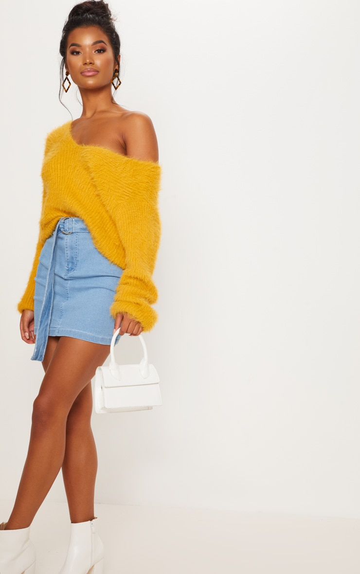 Mustard Eyelash Knitted Sweater 4