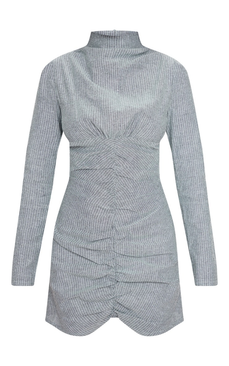 Grey Pinstripe High Neck Ruched Front Bodycon Dress 5
