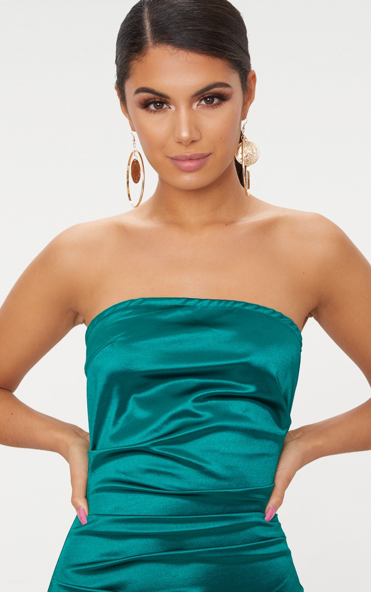 Emerald Green Bandeau Ruched Satin Bodycon Dress  5