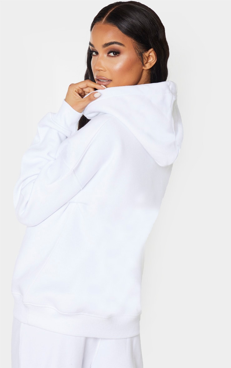 White Pocket Front Oversized Hoodie 2