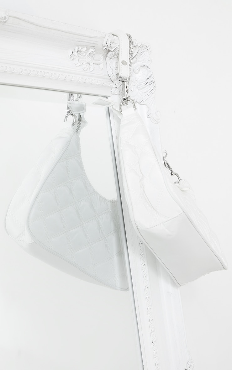 White Quilted Silver Chain Detail Shoulder Bag 4