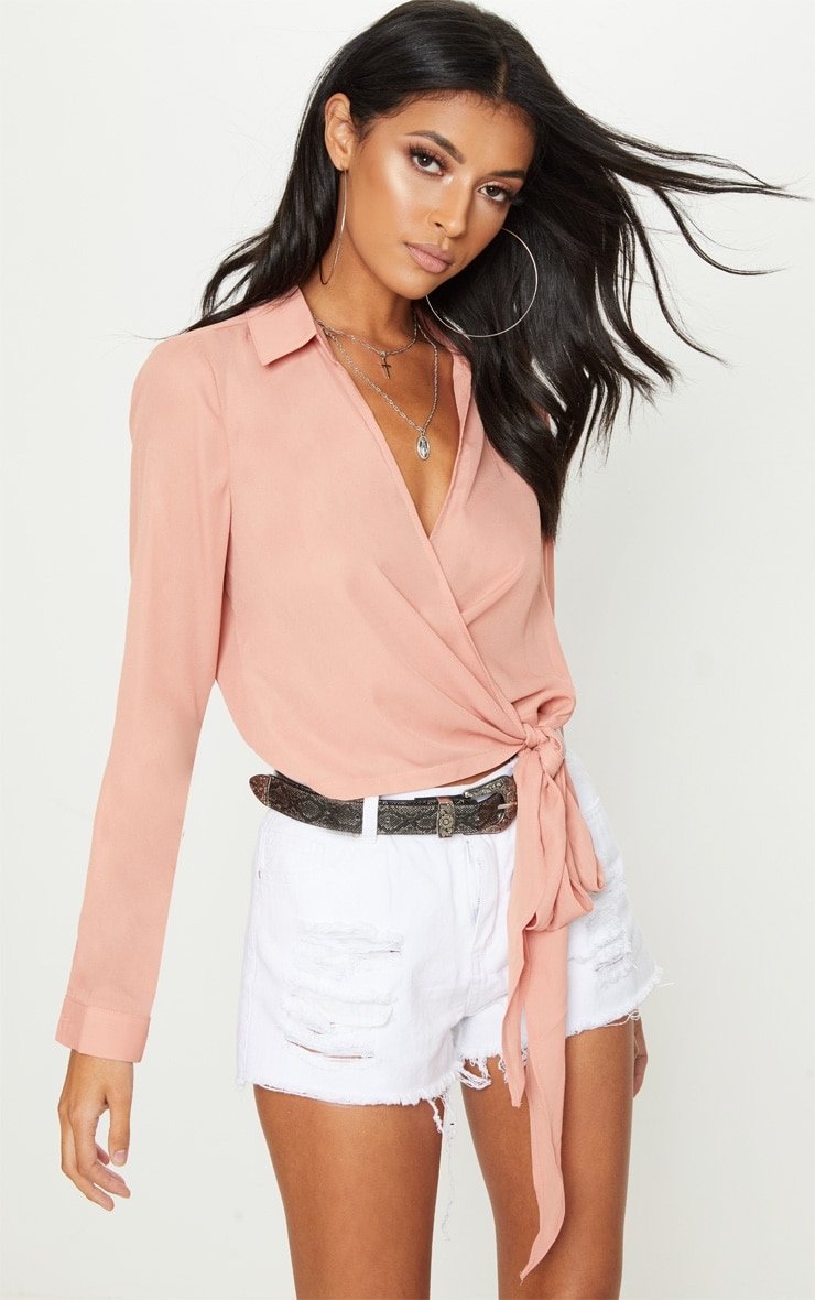 Nude Wrap Front Tie Side Blouse