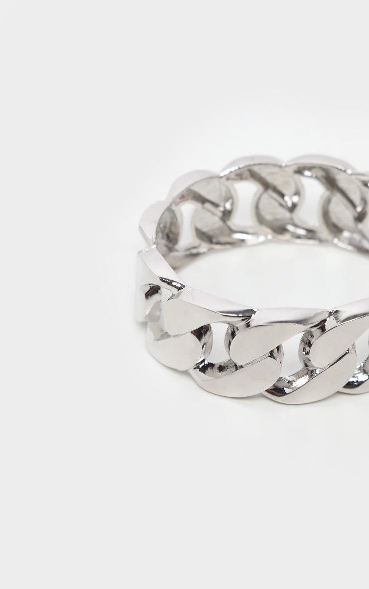 Silver Chunky Chain Cuff Bracelet 3