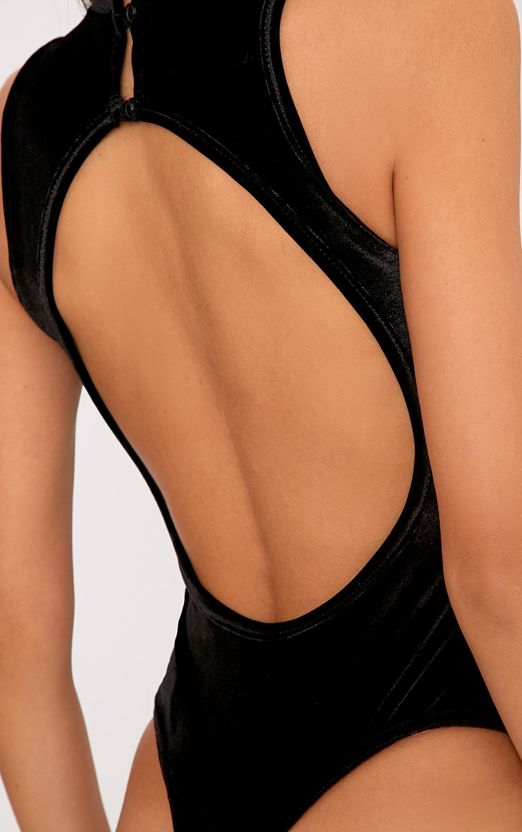 Aerin Black Velvet High Neck Open Back Thong Bodysuit 6