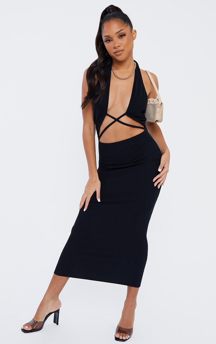 Black Ribbed Halterneck Cross Front Detail Midi Dress 1