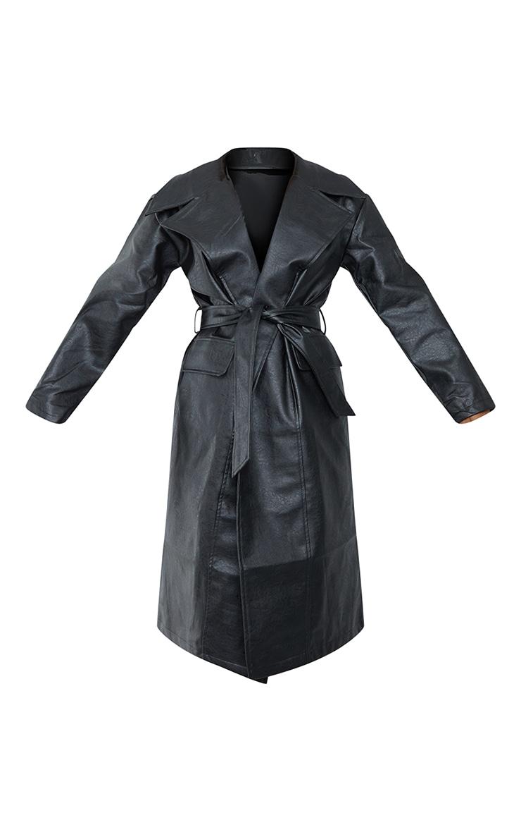 Black Faux Leather Oversized Midi Trench Coat 5