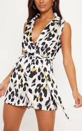 White Satin Leopard Print Collar Detail Sleeveless Romper 5
