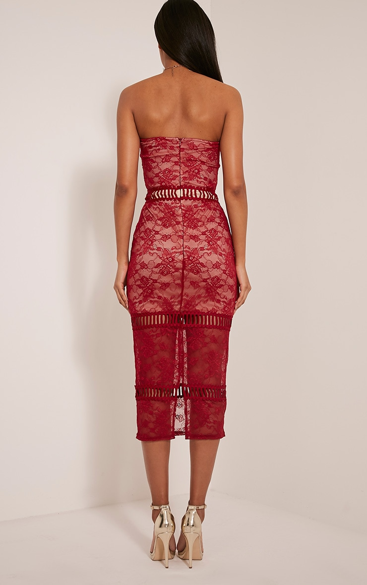 Megan Red Ladder Panel Lace Midi Dress 2
