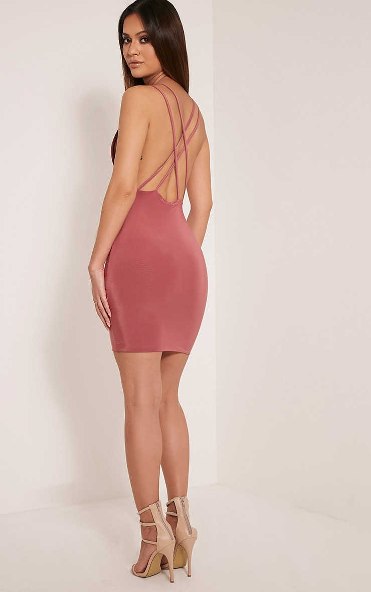 Dacey Rose Double Cross Back Bodycon Dress 5