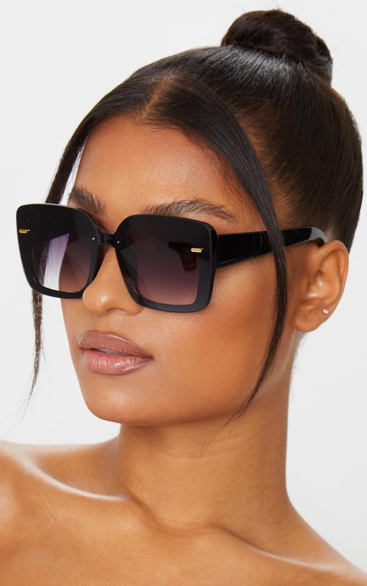 Black Oversized Gold Trim Square Frame Sunglasses 1