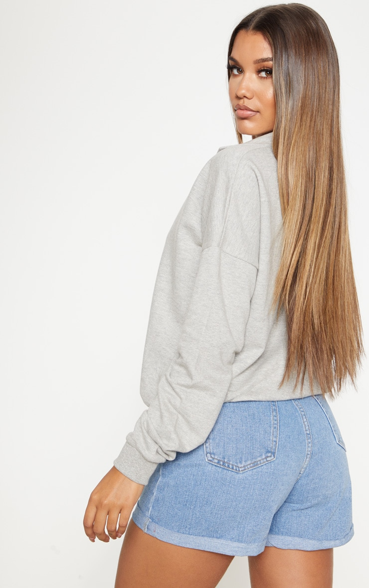 Grey Plunge Collar Oversized Sweater 2