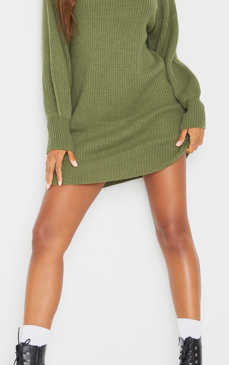 فستان بنمط سترة بياقة عالية وأكمام منفوخة باللون الكاكي 4