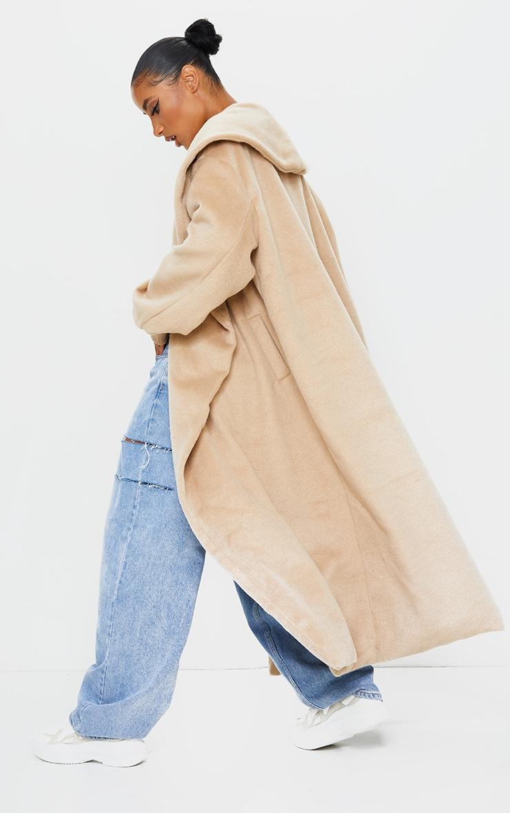 Manteau en laine effet brossé camel à détail col et manches ballon 3