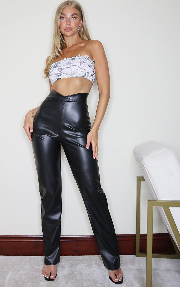 Black Faux Leather V Waist Pants 1
