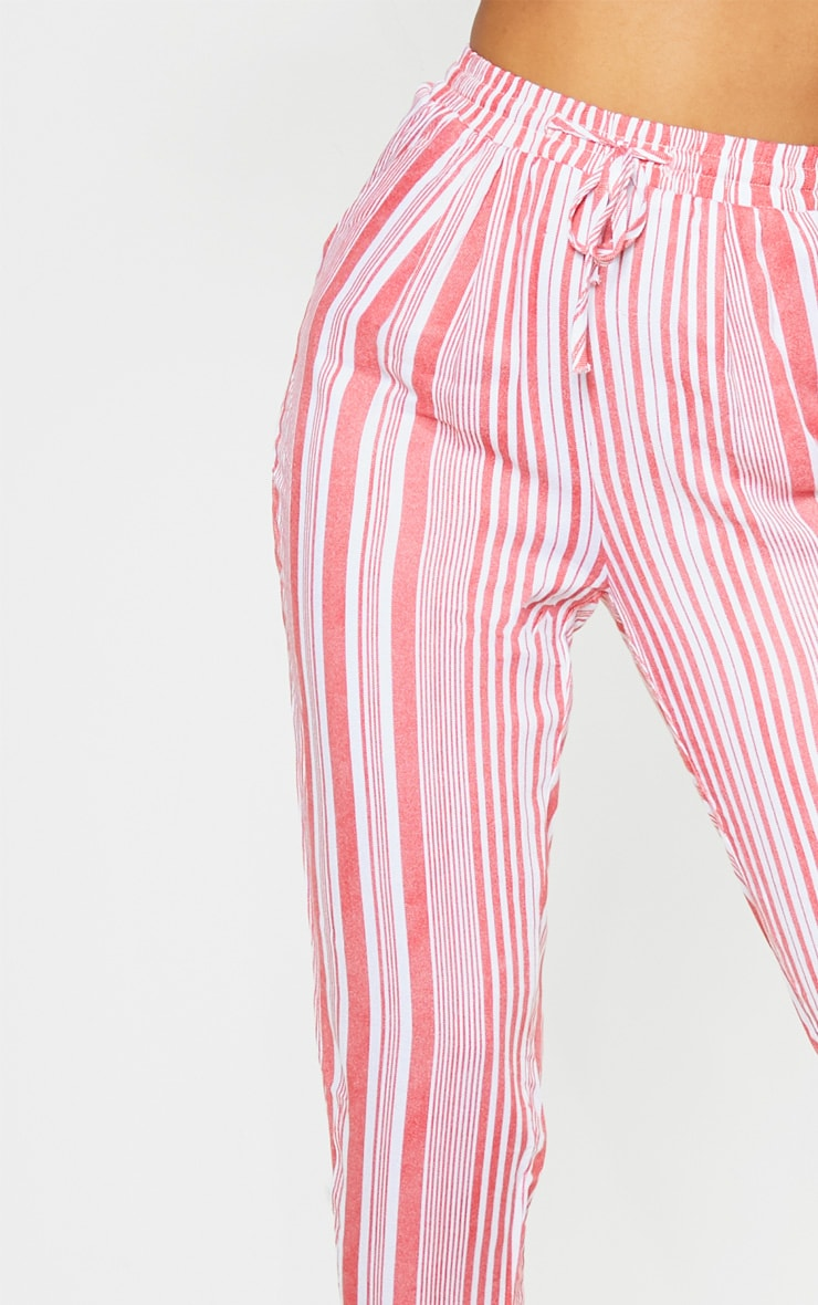 Red Stripe Printed Casual Trousers 5