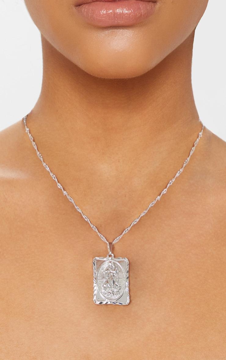 Silver Square Renaissance Pendant Necklace 1