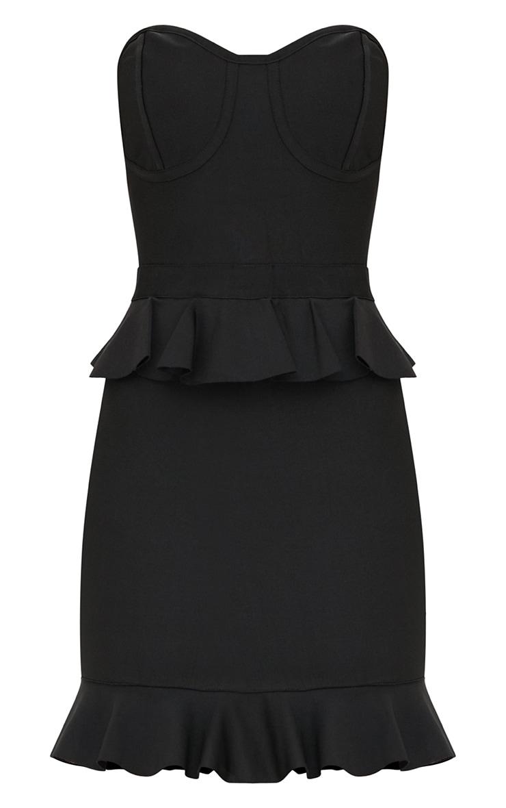 Black Bandeau Bandage Frill Detail Bodycon Dress 3