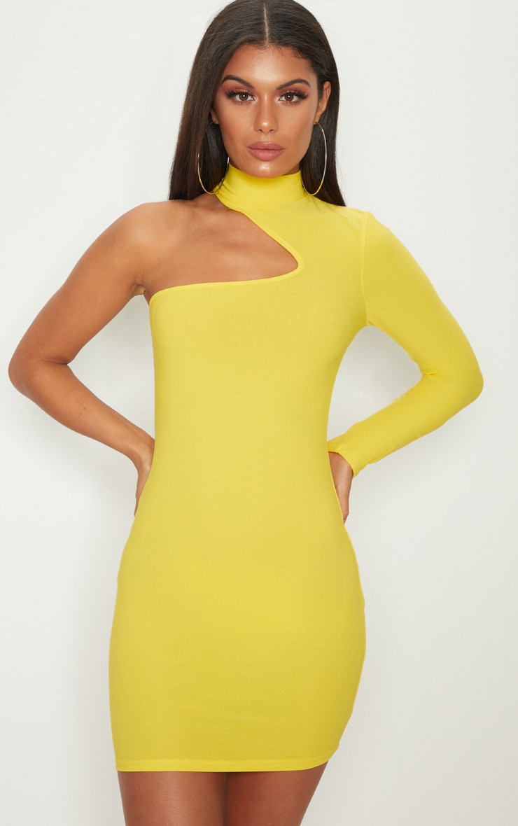 YELLOW HIGH NECK ASYMMETRIC SLEEVE BODYCON DRESS
