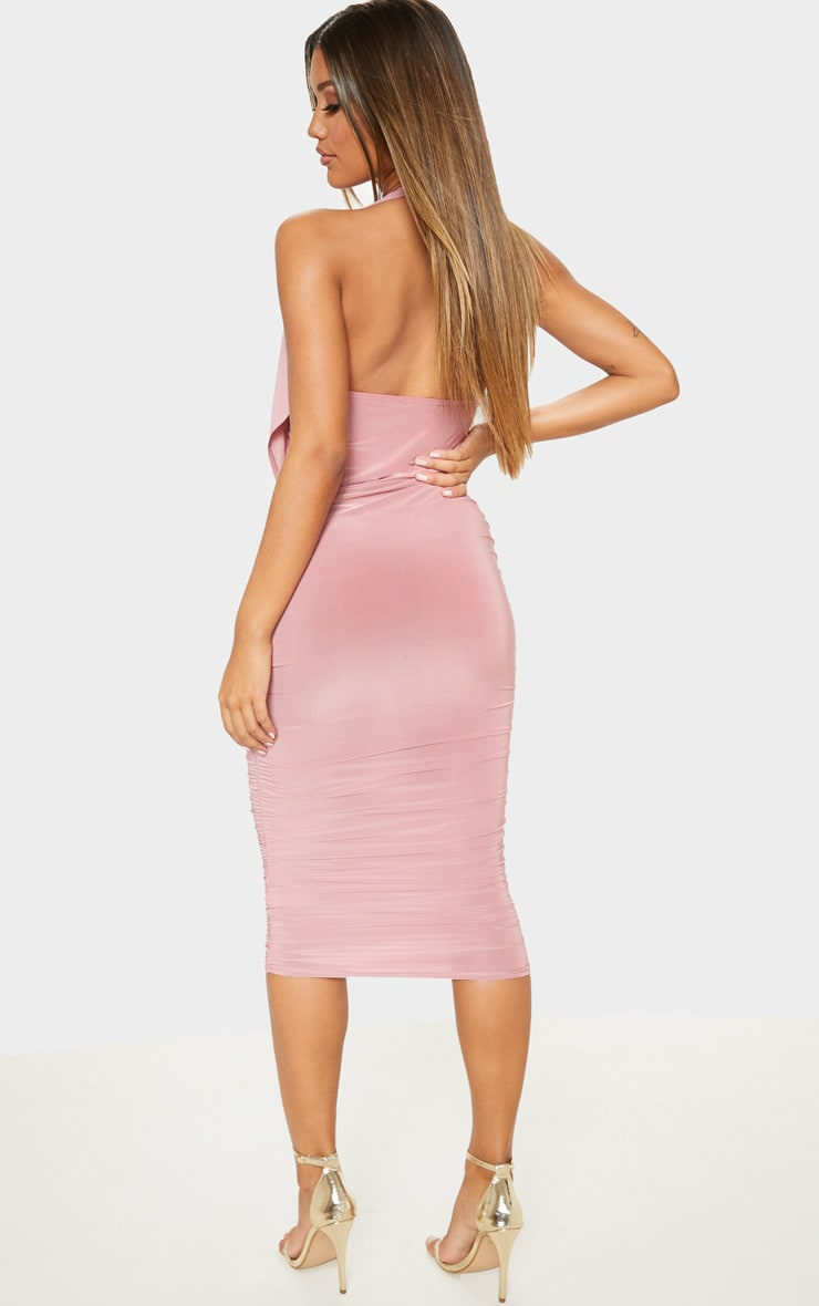 Rose Slinky Halterneck Ruched Drape Midi Dress   2