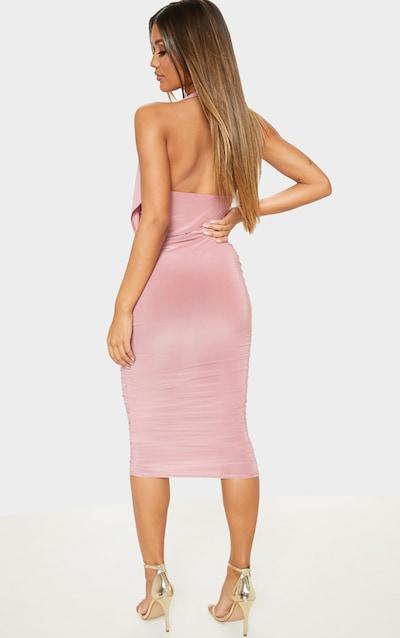 Rose Slinky Halterneck Ruched Drape Midi Dress