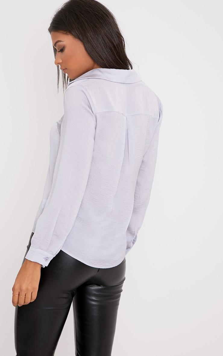 Lina Grey Satin Shirt 2