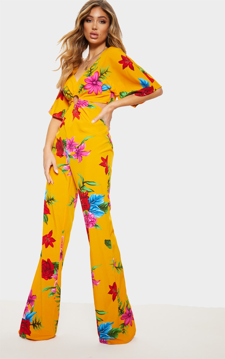Yellow Floral Ring Detail Cut Out Jumpsuit 3