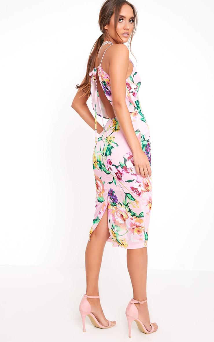Pink Floral Tie Back Midi Dress 1