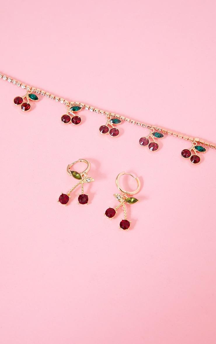 Gold Mini Cherry Hoop Earrings 3