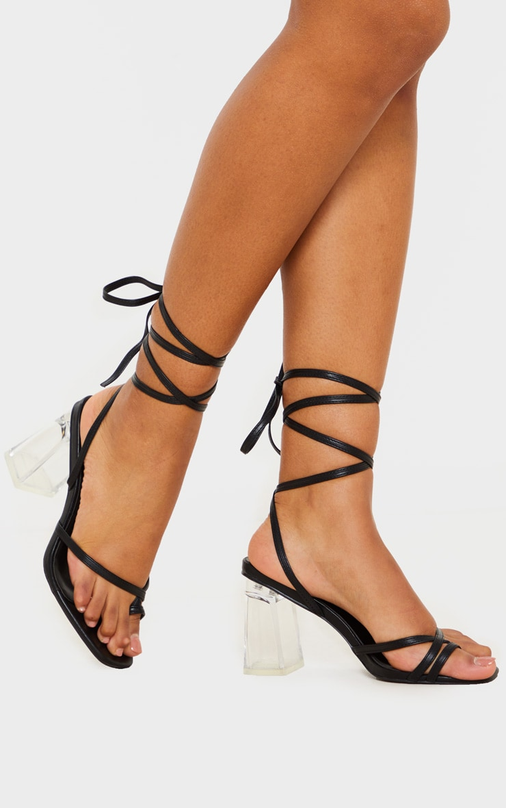 Black Clear Block Heel Toe Loop Ankle Lace Up Sandals 1