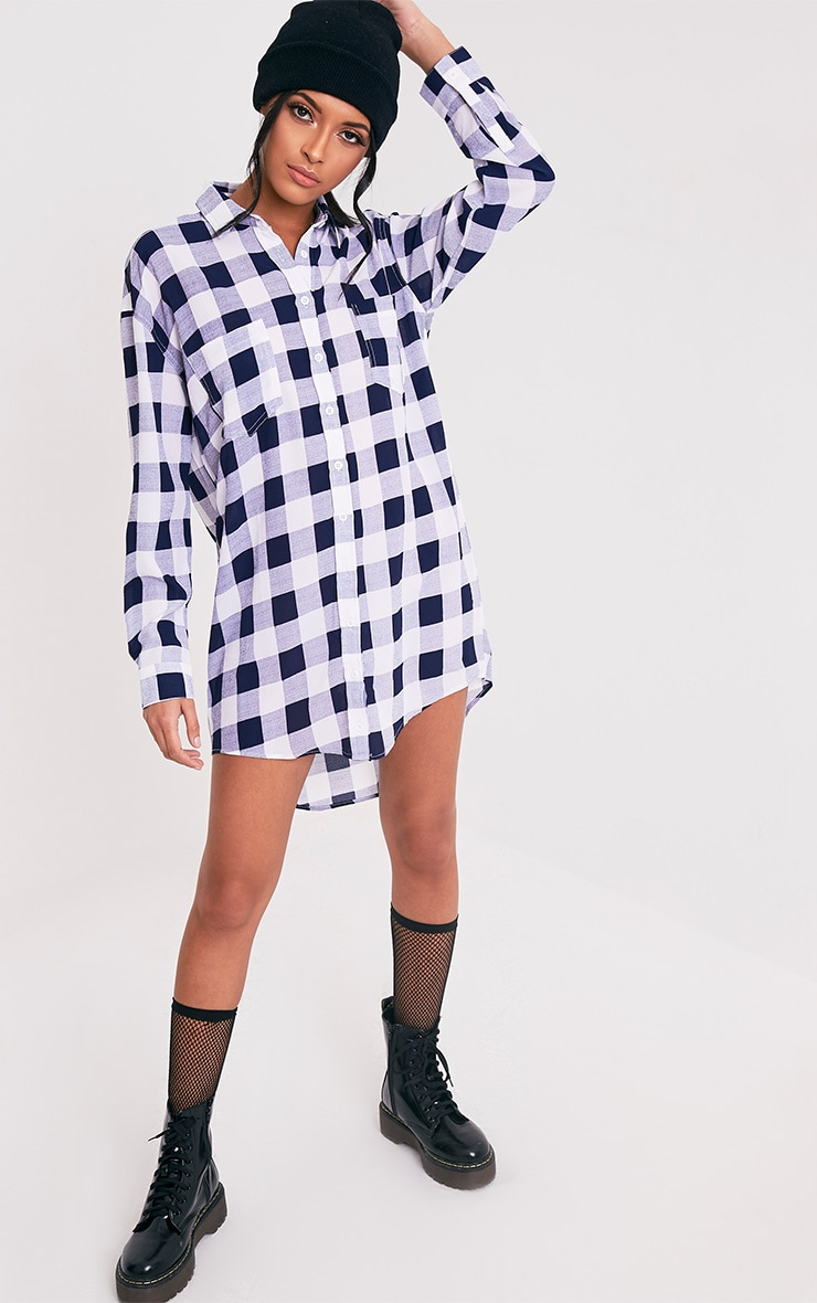 Perrie Blue Oversized Checked Shirt Dress 1