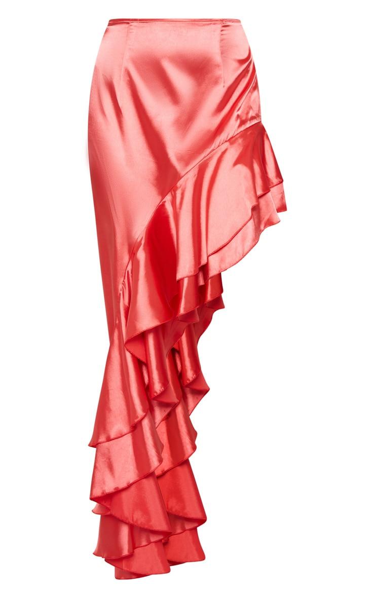 Coral Asymmetric Frill Midaxi Skirt 3