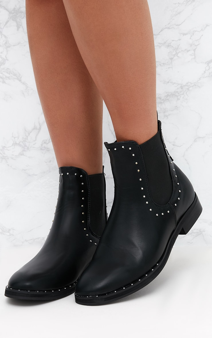 Black PU Studded Chelsea Boot 2