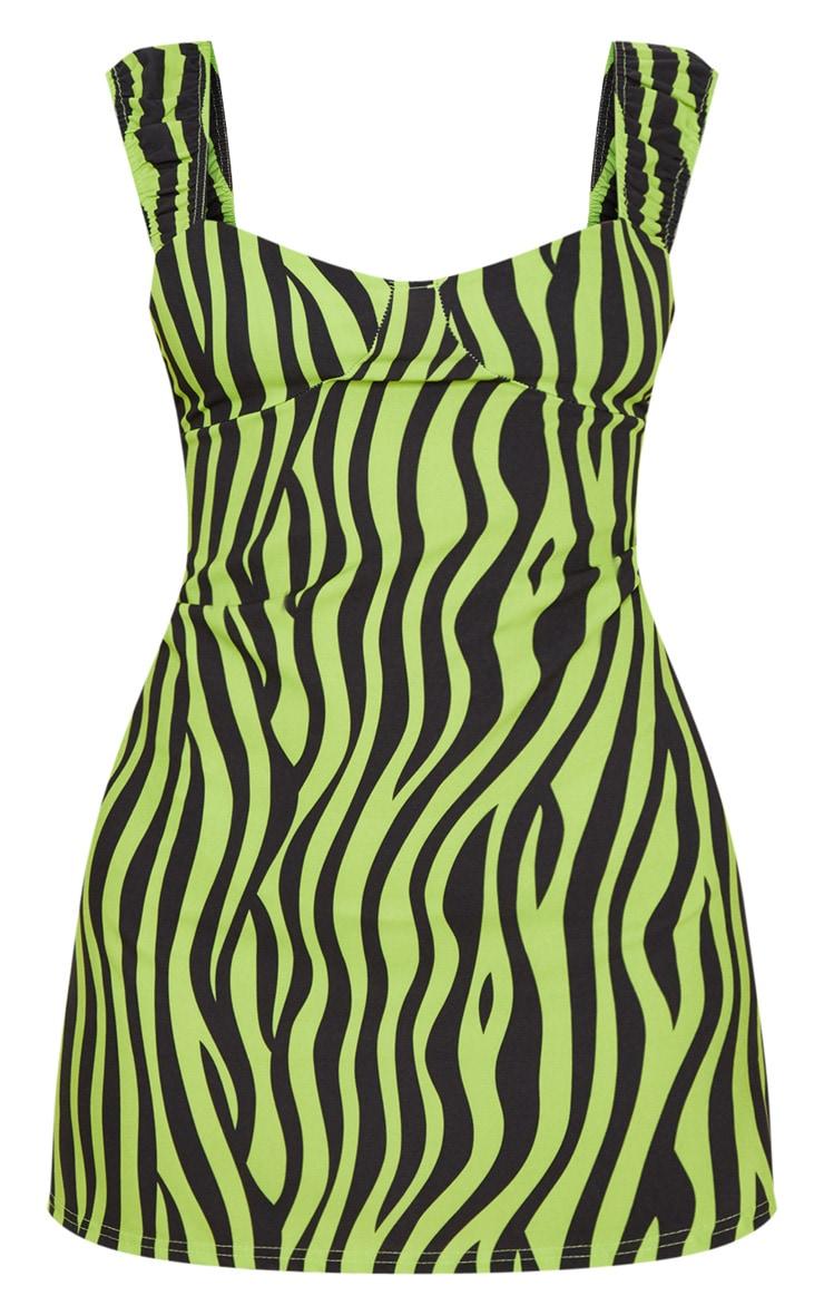 Lime Zebra Print Ruched Strap Shift Dress 3