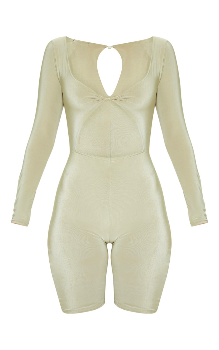 Sage Khaki Cut Out Long Sleeve Unitard 3
