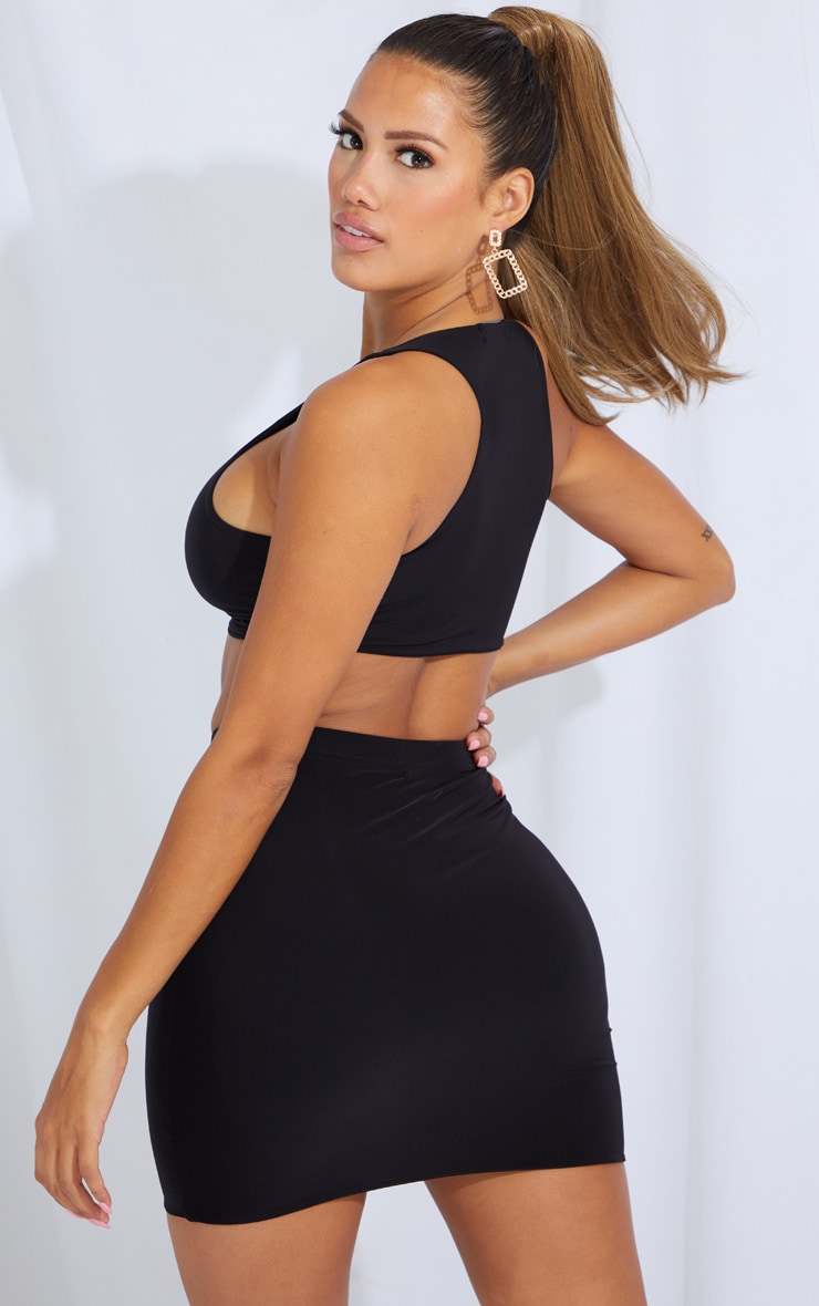 Shape Black Slinky Racer Neck Crop Top And Bodycon Skirt 2 Pack 2